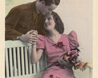 Romantic vintage lovers postcard .  Romantic Couple.