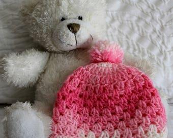 Handmade Crochet Pink Baby Beanie - Baby Hat - Baby girl - Baby Shower Gift