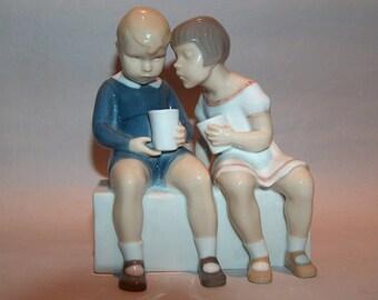 8381: Royal Copenhagen B & G 2175 Vintage Figurine Titled Unfair Treatment Bing and Grondahl Boy and Girl Porcelain at Vintageway Furniture