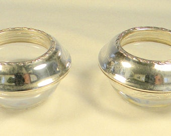 Two Vintage Open Salt Cellars, or Dishes, Made in United States 1920 Round Sterling Silver and Glass Open Salt Dishes