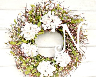 Wedding Wreath-Summer Wedding Decor-Cottage Chic-Summer Door Wreath-Hydrangea Door Wreath-Shabby Chic-Gift for Mom-Housewarming Gift-Wedding