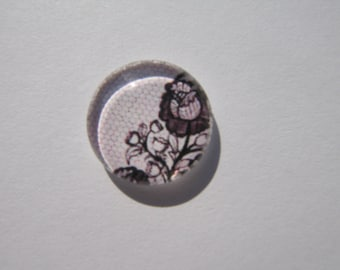 Glass cabochon round 14 mm with pink mesh lace image
