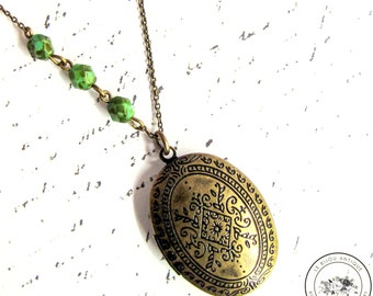 Victorian Antique Locket necklace in green and bronze christmas gift for her xmas romantic rustic
