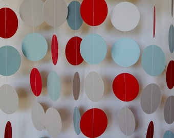 Baby Boy Shower Decor, Red, Blue and Gray Paper Garland, First Birthday Party Decoration, 10 ft. long