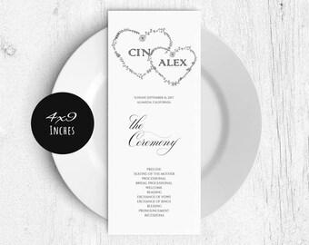 Printable Wedding Program Template, Rustic Wedding Ceremony Program, Instant Download PDF template, Kraft Wedding Program, LDS_47