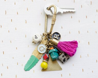 Personalized Initial Charm Keychain, geometric tassel brass charm, for her, personalized gift, mother's day gift,