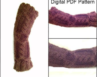 Arm Warmers Fingerless Gloves Knitting Pattern # 4 Sassenach Knitting Pattern PDF File Is not a finished product.