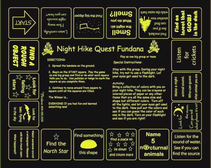 Night Hike Quest Fundana! Fun, nightime activity for scouts, families, camps! Unique game to use your senses at night.