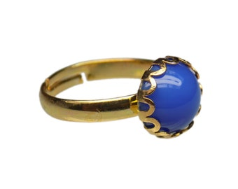 10mm Round Genuine Blue Onyx Gemstone Cabochon Gold Plated Adjustable / Expandable Ring