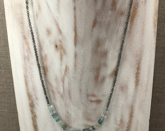 Labradorite, aquamarine, pyrite, apatite and sterling silver layering necklace