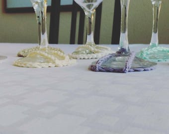 Wine glass base cover pastel and bold colors Eco Friendly Crochet goblet base covers entertaining table setting dinner setting table decor