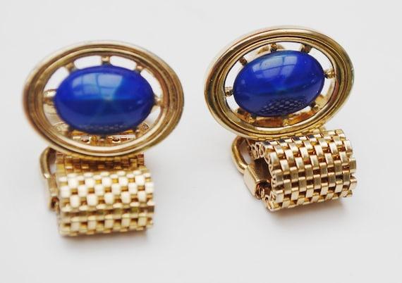 Blue Star Sapphire  Glass  Cufflinks - Blue glass Cabochon - fold over  gold wrap mesh metal
