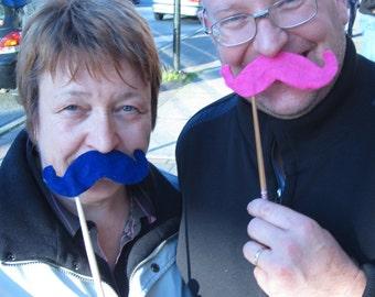 Upcycled Steampunk Felt Handlebar Mustache on a Stick (Royal Blue) - Movember Movement