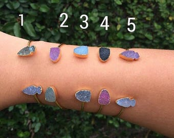 Gold plated, double druzy multicolor stones