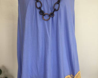 Upcycled women's butterfly tunic top, crocheted mandalas