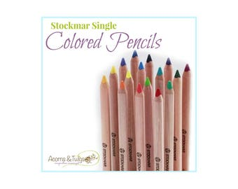 Stockmar Colored Pencils - Triangle Shaped - Individual/Single, Drawing Supplies, Triangular Giant Pencils, Waldorf Homeschooling Supplies