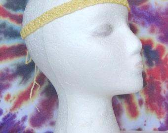 Yellow Boho Crochet Headband, Hippie Headband, Boho Hair Accessory, Festival Headband