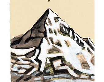MT HOOD Just the Tip GOLD 5x5 (Gold Leaf Hand Embellished Giclée Print of Original Gouache + Ink + Gold Leaf Painting)