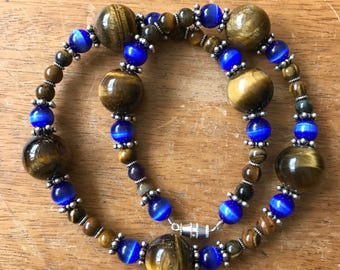 Brown & Blue Tigers Eye Necklace