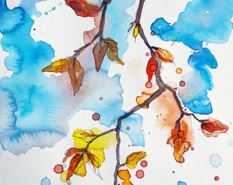 Autumn Leaves/Original Artwork, Watercolor, Modern Art, Wall Decor