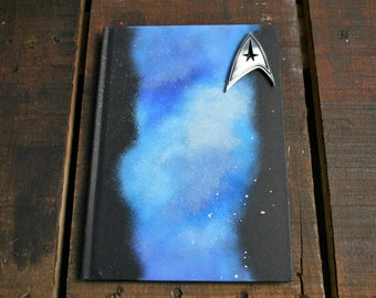 Star Trek Inspired LINED A5 Hand Painted Hardback Notebook/ Sketch Book/ Journal / Guest Book
