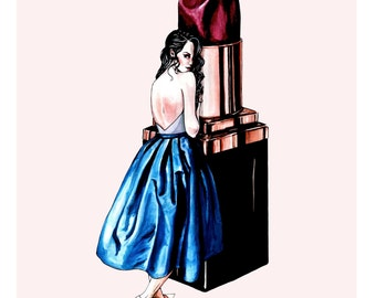 Evelyn Plum, Vintage Fashion Beauty Illustration Wall Art Print A3