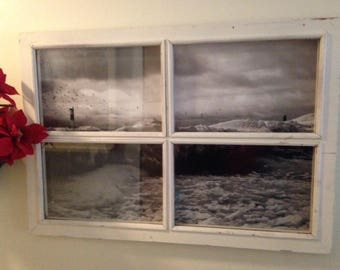 Vintage Window Distressed Framed Print Holland, Mi Light House