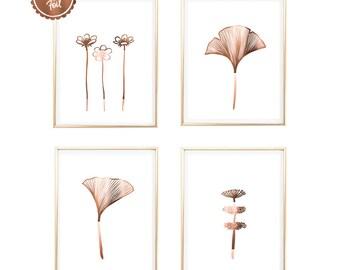 Set of 4 // Copper print // Floral // Flower art // Wall art // Nature // Leaf prints // Flower prints // Copper flower // Copper leaf