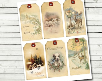 Digital Vintage Christmas Tags - Instant Download - 4.5 x 2.5 - Gift Tags