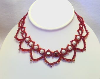 Red Hearts Tatting jewelry lace choker necklace - HeartString lace in red with amber pearls and Garnet Cubic Zirconia for gift holiday