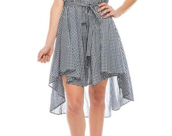 Unbalanced Shirt Dress with check patter