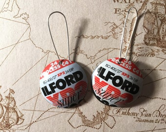 Upcycled 35mm film cassette drop earrings - Ilford and Kodak