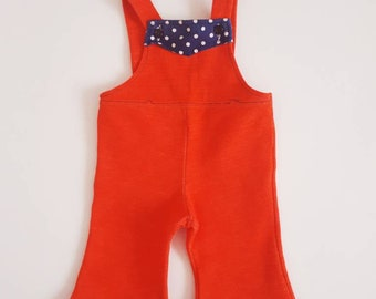 Bib 1 year 12 months red and blue vintage retro 1970s polka dot