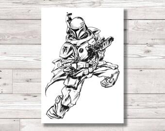 Star Wars: Boba Fett Ink Print