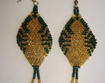 Vintage Glass Beaded Flapper Earrings