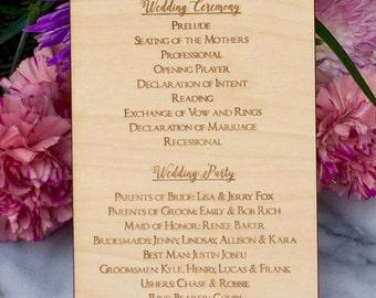 Wedding Program Rustic, Printable Wedding Program, Program Wedding, Wedding Program, DIY Wedding Program, Laser Cut Wood Program Wedding