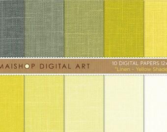Digital Paper Linen 'Yellow Shades' Lemon Yellow, Greenish Yellow, Pistachio, Cream... Printable Scrapbook Paper Download
