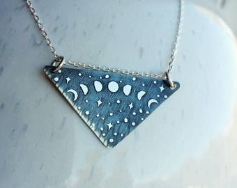 Moon Cycle Triangle Pendant Minimal Night Sky Necklace Sterling Silver Etched