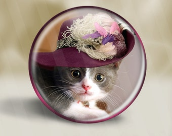 Cat In A Hat Series Pocket Mirror, Magnet, or Pinback Button D003