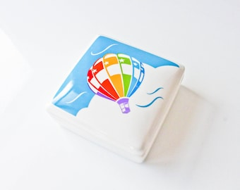 Vintage Kitschy  Rainbow and Star Hot Air Balloon Trinket Box-Clouds-Sky-Jewelry Box-Volunteering Expands Your Horizon