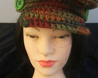 Newsboy, Pageboy, Hand Crocheted Cap, Fall Colors, Autumn Color Hat