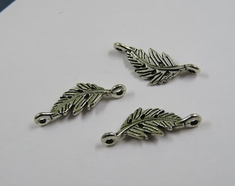 SET of 6 Silver feather (A42) leaf connector charms