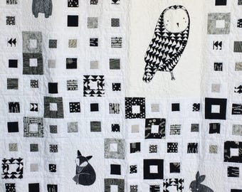 Critters Toddler Quilt or throw by Dreamy Vintage Sheets