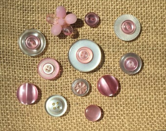 Button Thumbtack- Vintage Faux Mother of Pearl Pink/White  Button ThumbTacks/Push Pins - ButtonThumb tacks