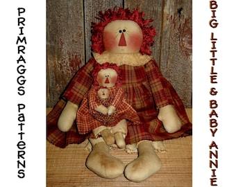 Primitive Doll PATTERN Raggedy Ann 3 sizesl - Big, Little & Baby Doll Annie -  Primraggs - instant download