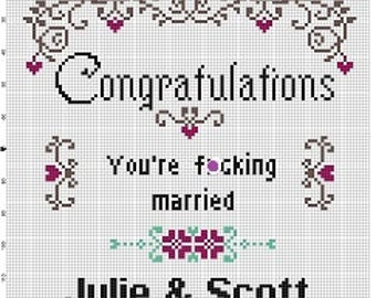 Congratulations! You're F*cking married - Wedding Cross Stitch Pattern - Instant Download
