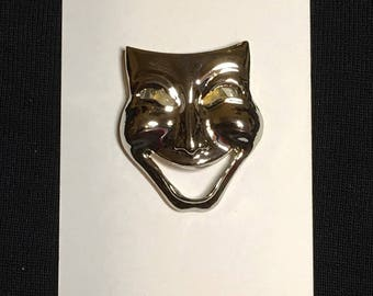 Silver Comedy Theater Mask Button Cover Ups