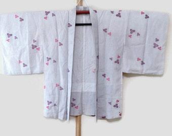 30% OFF- Vintage White Japanese Kimono Jacket with Floral Print, Vintage Haori, Kimono Cardigan, Boho Kimono Top, Womens Jacket JA0023VH
