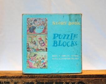 Vintage Story Book Puzzle Blocks