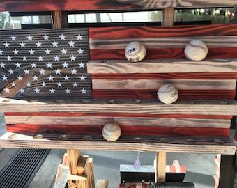 American flag baseball display